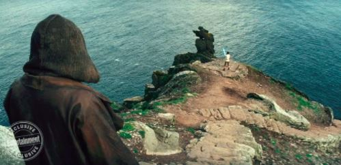 Luke Skywalker watches Rey train