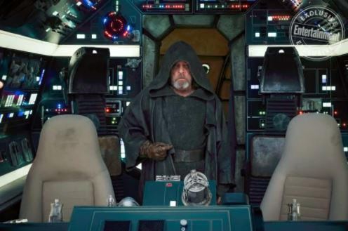 Luke Skywalker in the cockpit of the Millennium Falcon
