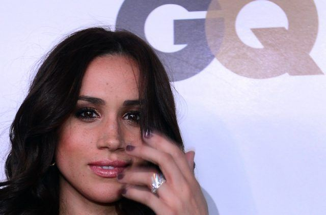 Meghan Markle's closeup of a diamond ring.