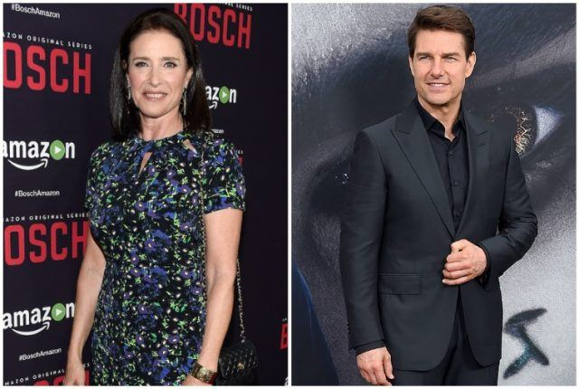 A collage featuring Mimi Rogers and Tom Cruise.