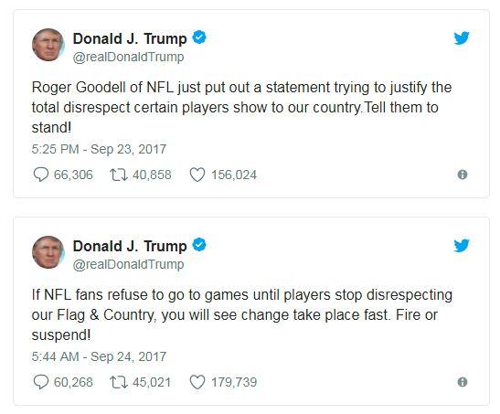 two trump nfl tweets