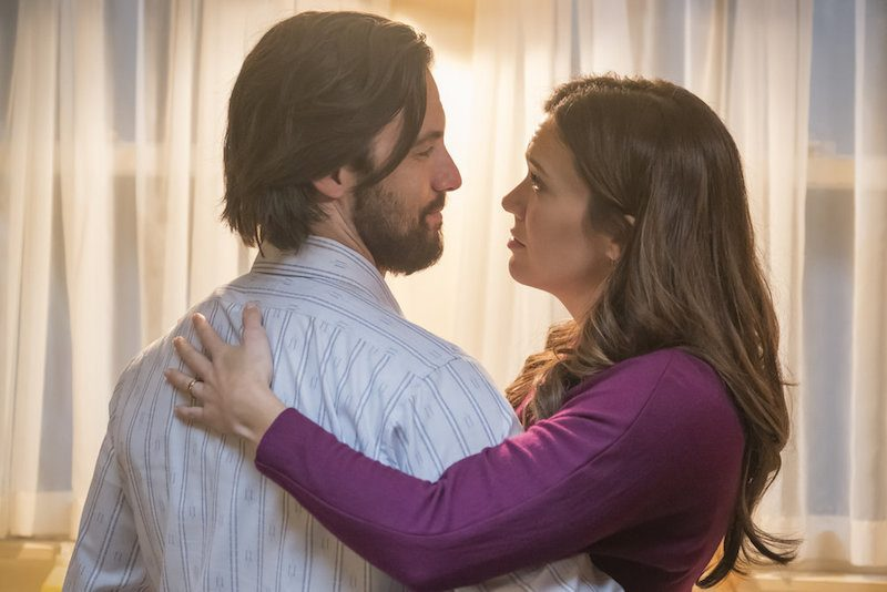 Milo Ventimiglia as Jack and Mandy Moore as Rebecca hug on This is Us