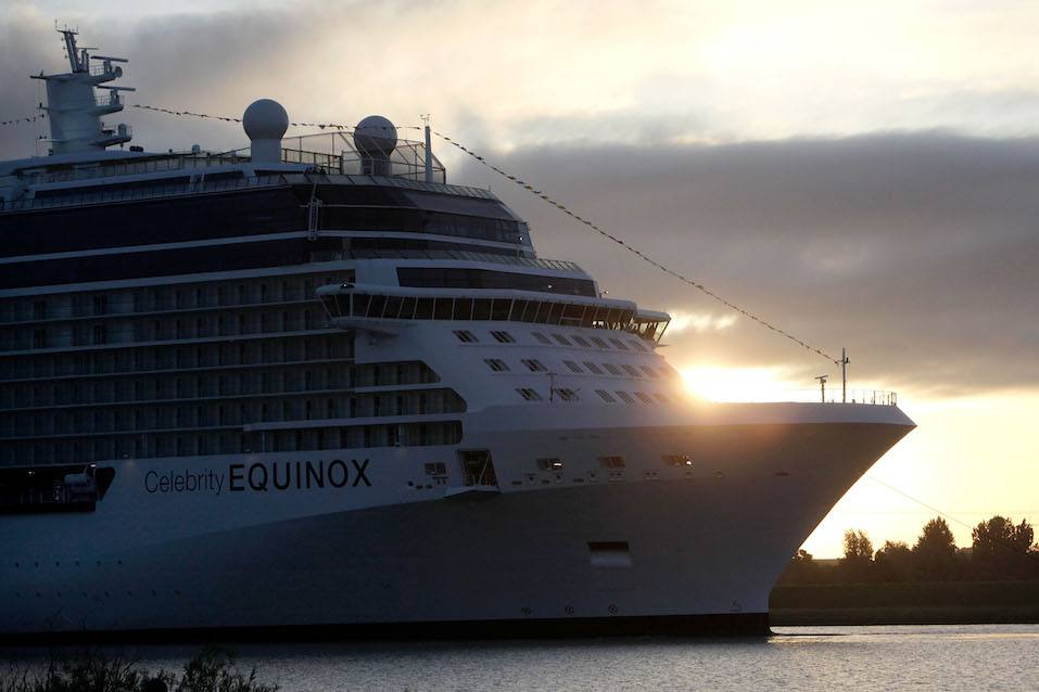 Cruiser ship Celebrity Equinox leaves the Meyer Papenburg shipyard en-route to Eemshaven