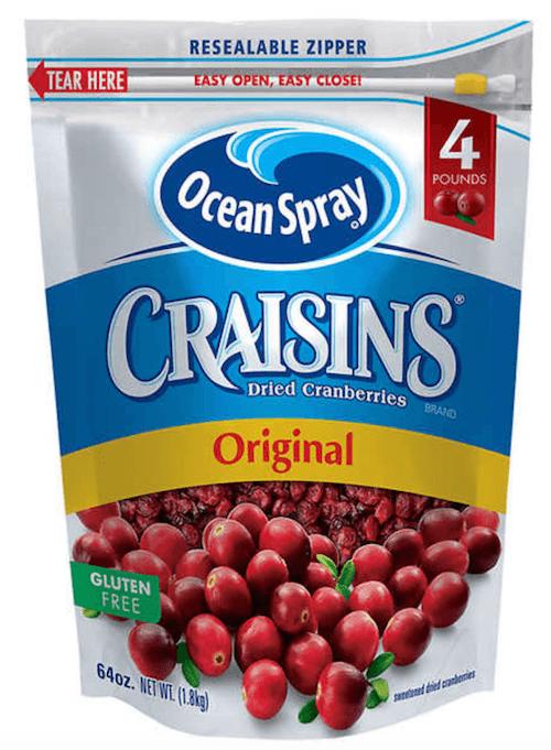 A container of Ocean Spray Craisins.