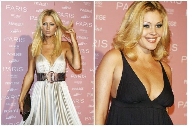 Collage featuring Shanna Moakler and Paris Hilton.