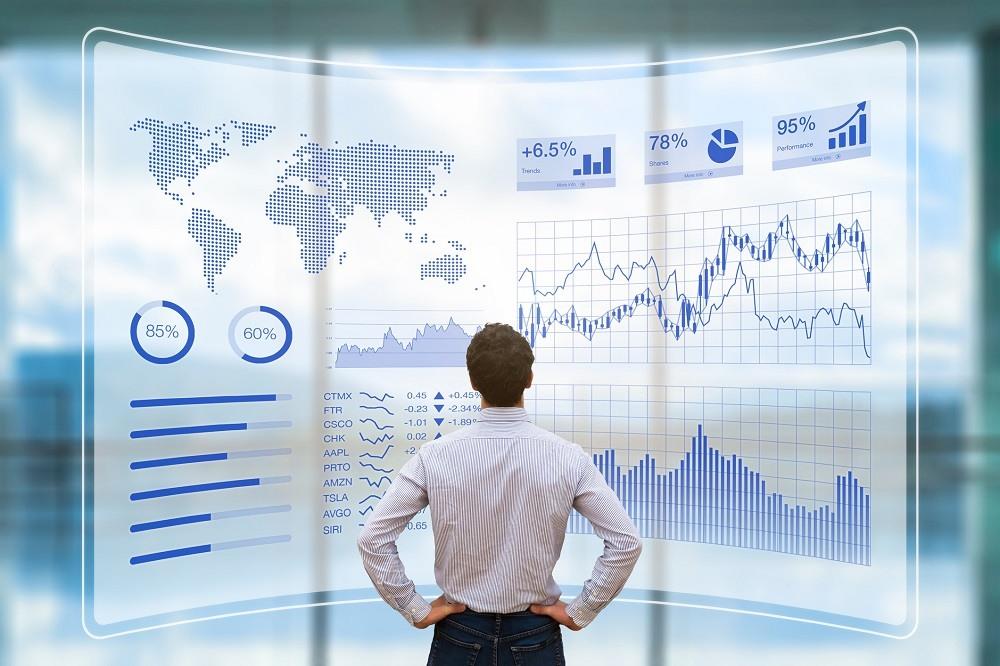 man looking at data