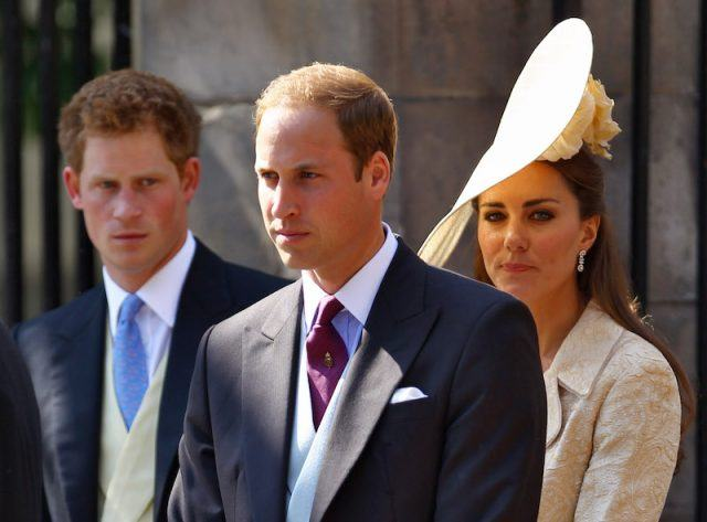 Kate Middleton, Prince Harry, and Prince William at Pippa Middleton's wedding.