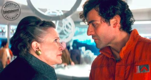 Poe Dameron speaks with General Leia