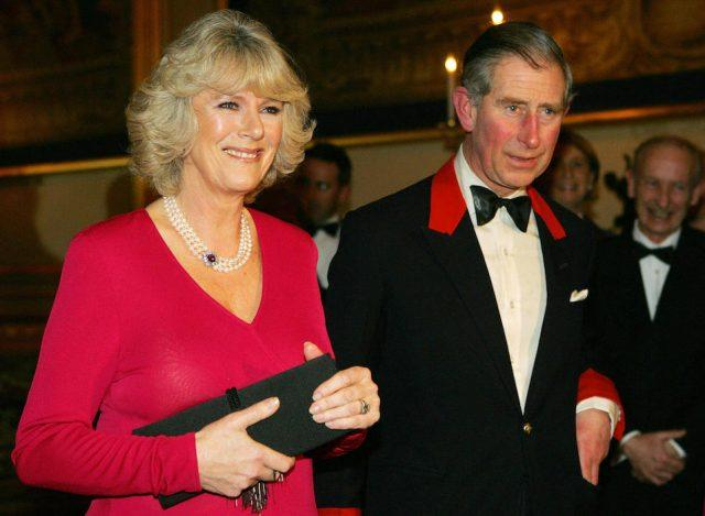 Prince Charles and Camilla Parker Bowles arrive for a party at Windsor Castle.