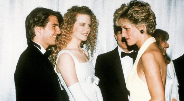 Princess Diana converses with Tom Cruise and Nicole Kidman.