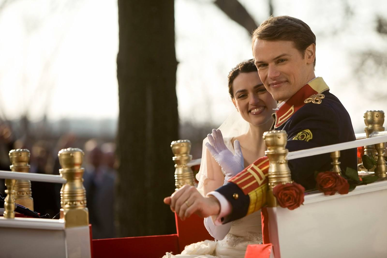 Katie McGrath as Jules Daly and Sam Heughan as Prince Ashton in A Princess for Christmas