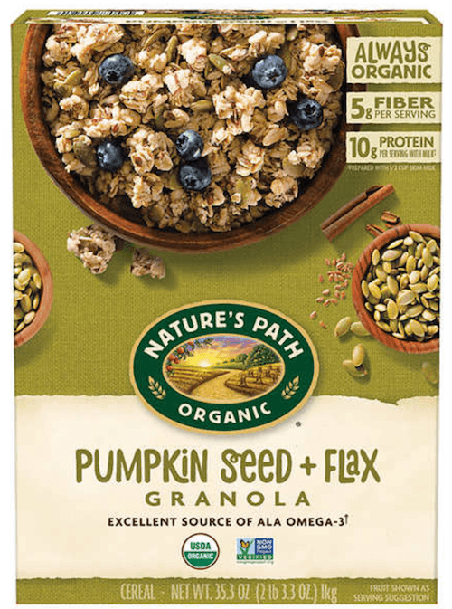 A box of Pumpkin Seed and Flax Granola.