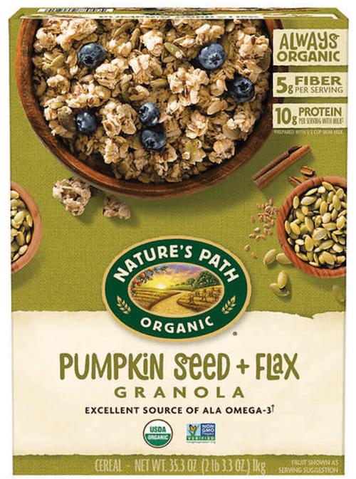 A box of Pumpkin Seed and Flax Granola.