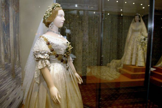 The Queen's wedding gown on display.