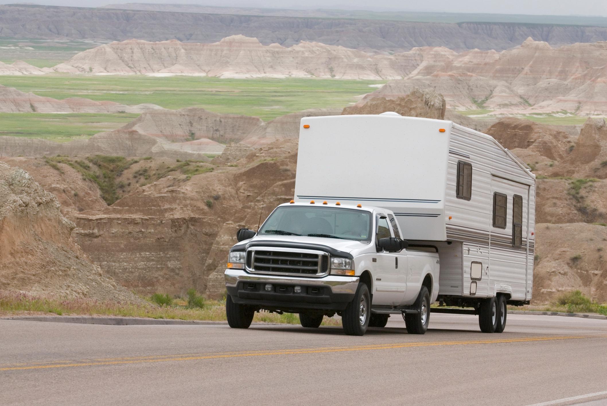 RV trailer in the badlands