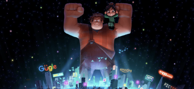 Ralph holds up with muscles while standing in front of the city.