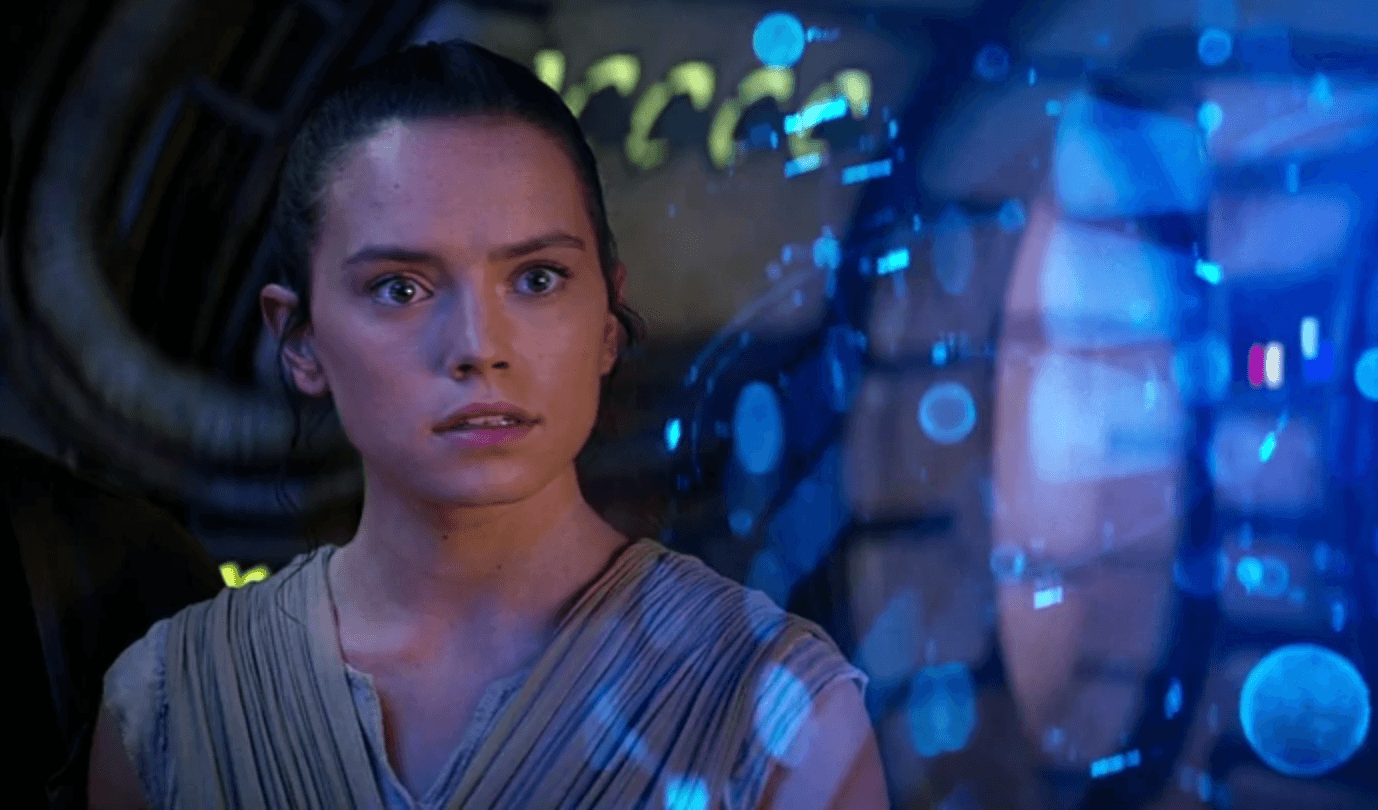 Rey looking straight ahead startled