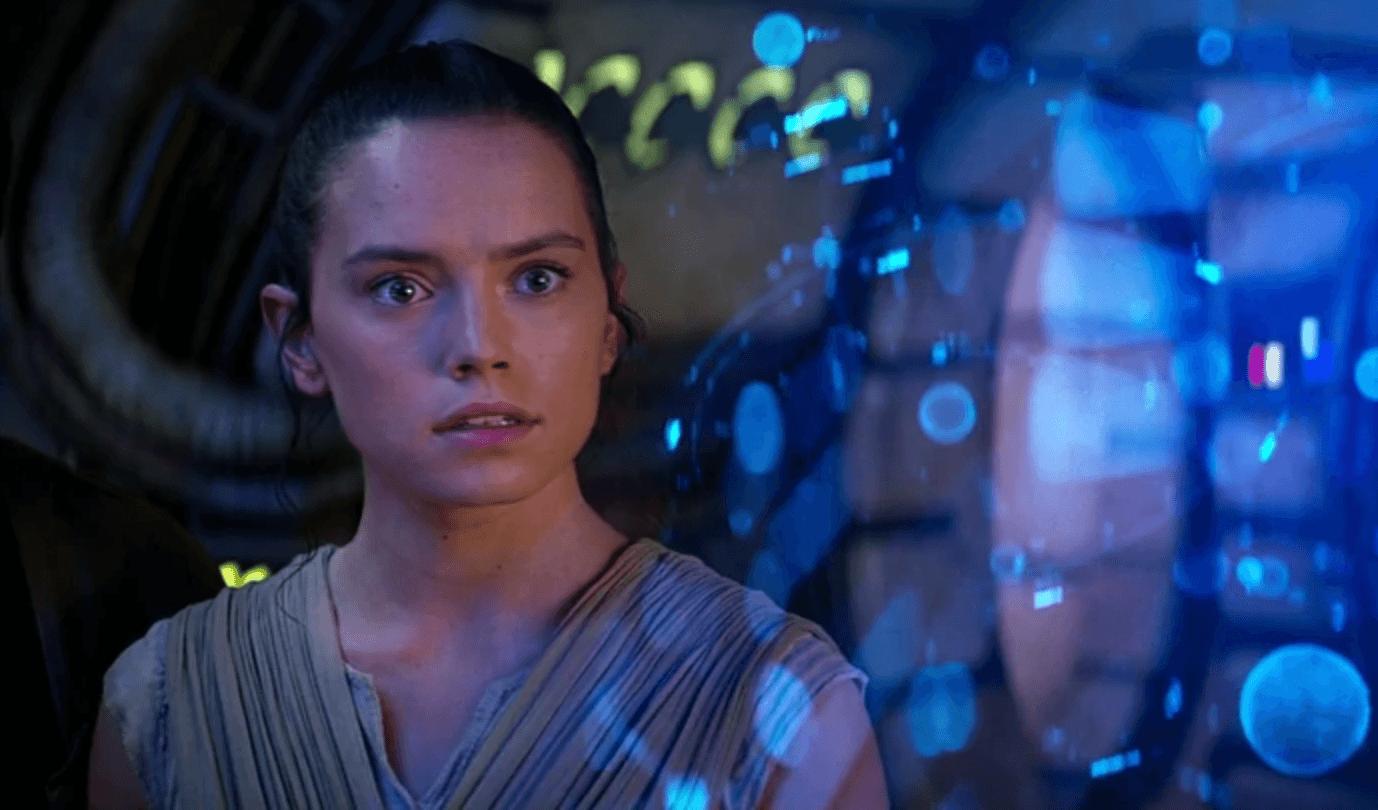 Rey looking straight ahead startled