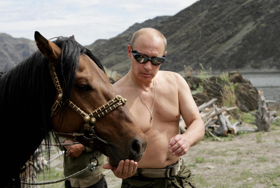 Russian Prime Minister Vladimir Putin is pictured with a horse during his vacation