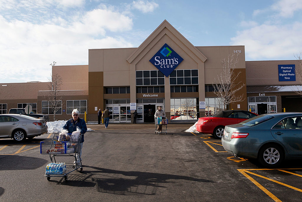 Shoppers leave a Sam's Club store