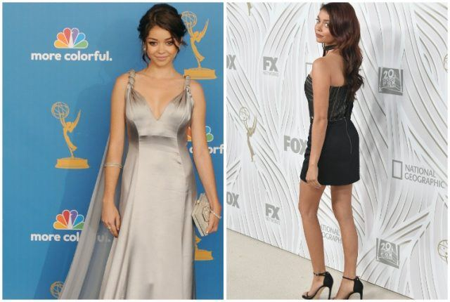 Sarah Hyland weight loss comparison collage.