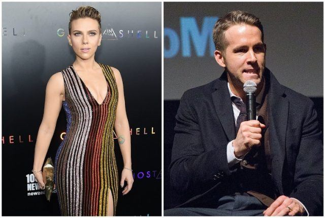 A collage featuring Scarlett Johansson and Ryan Reynolds.