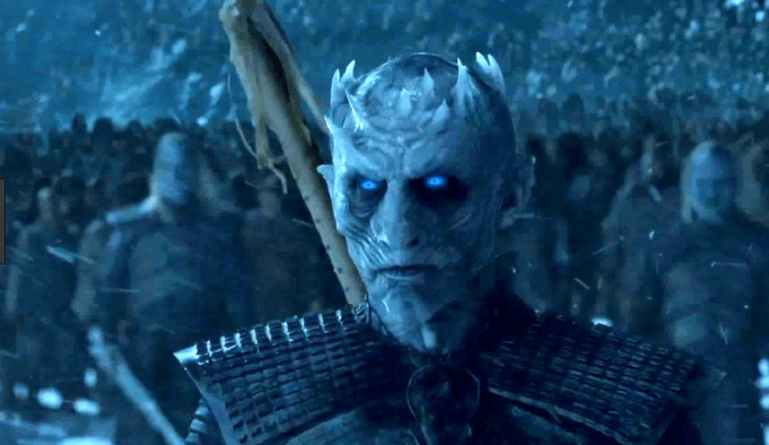 The Night King stares ahead with icy blue gaze