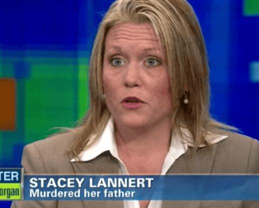 Stacey Lannert being interviewed