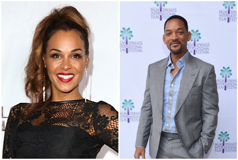 Left: Sheree Fletcher in a lace black dress, Right: Will Smith at a movie screening in 2016