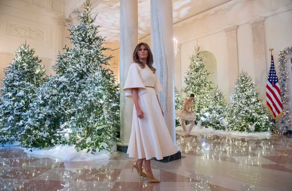 US First Lady Melania Trump stands in the Grand Foyer
