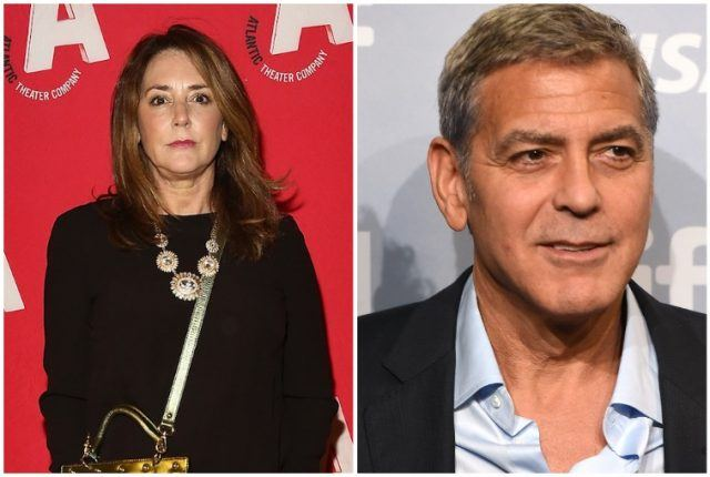 A collage featuring Talia Balsam and George Clooney.