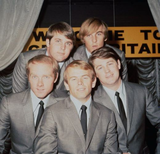 The Beach Boys pose together while wearing gray suits and black ties.