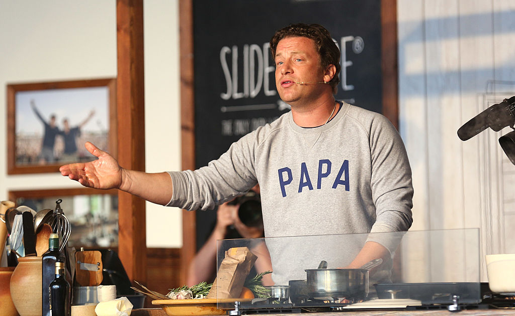 Jamie Oliver attends a cooking demonstration at the Neff Big Kitchen