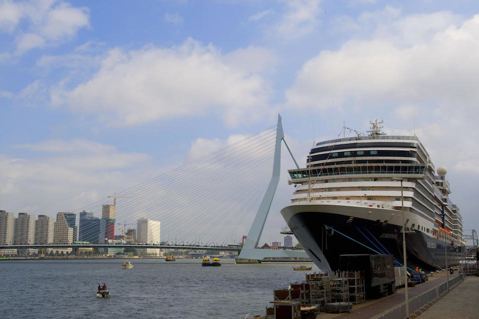 The Signature class cruise ship MS Eurodam arrives in the Dutch port