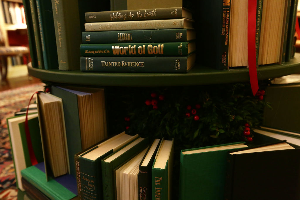 Book volumes that form a Christmas tree