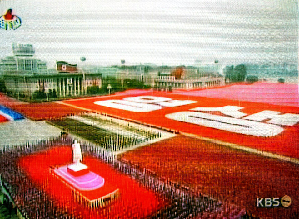 This video clip delivered from North Korean Central TV via South Korean television