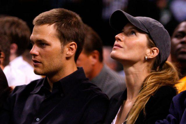 Gisele Bundchan and Tom Brady at a game in Boston.