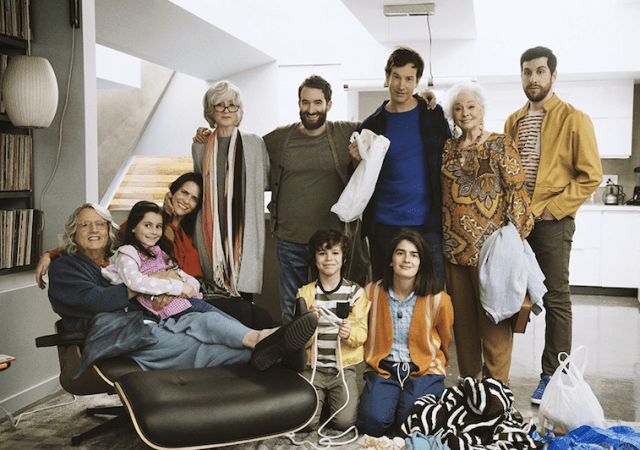 The cast of 'Transparent' standing and posing in their home.