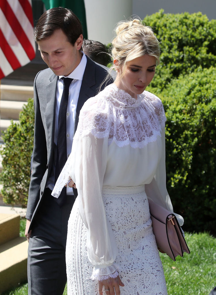 Ivanka Trump and her husband ared Kushner attend a news conference