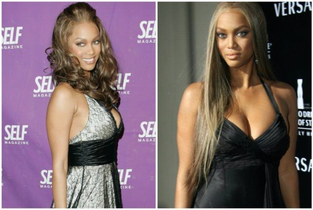 Collage of Tyra Banks weight gain.