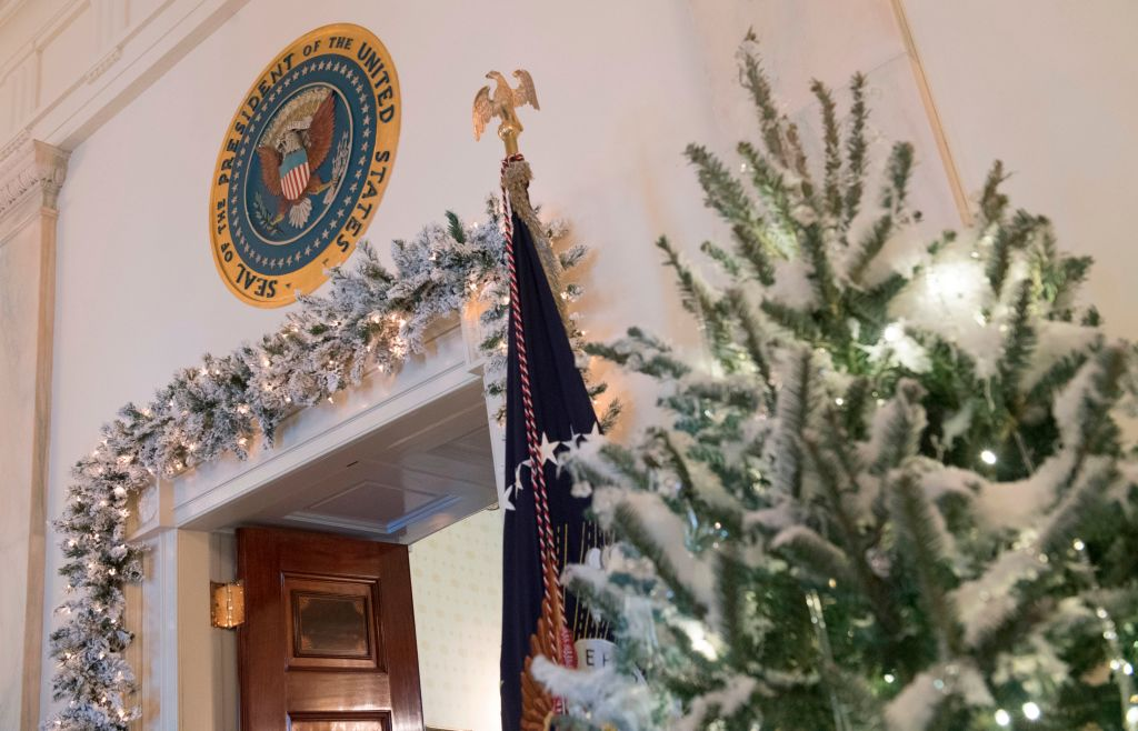 Christmas trees are seen during a preview of holiday decorations in White House