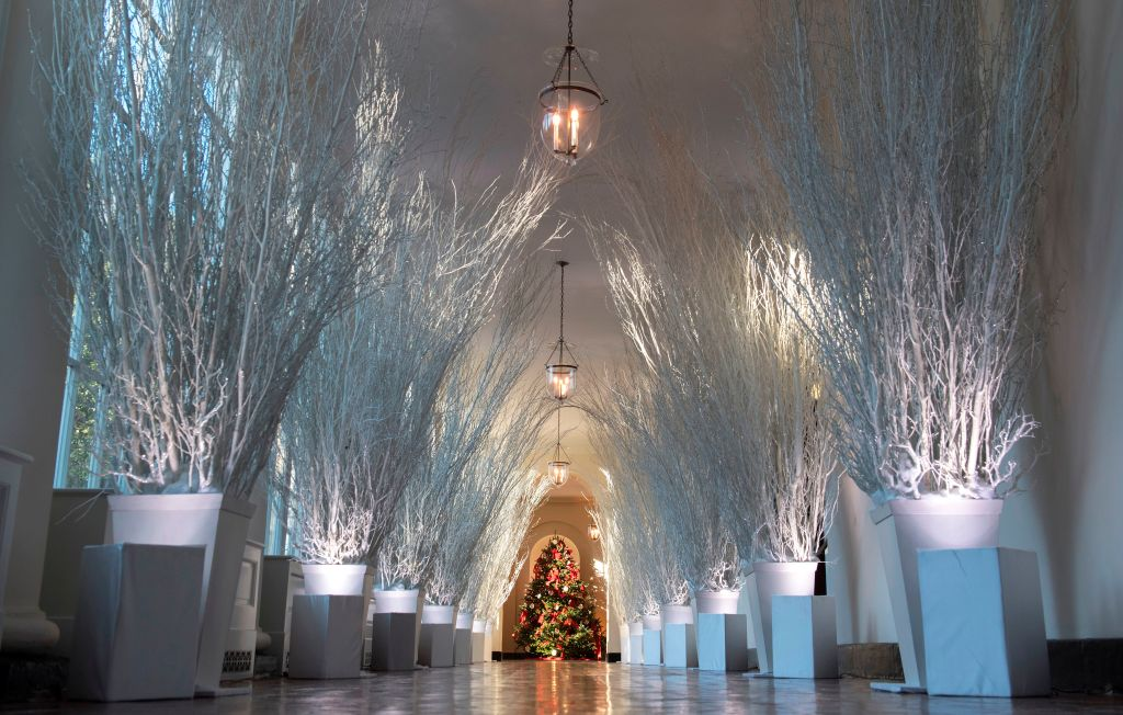 Christmas decorations are seen in the East Wing