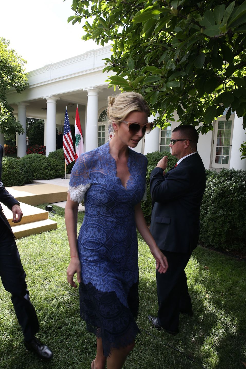 Ivanka Trump leaves after US President Donald Trump held a news conference with Prime Minister of Lebanon Saad Hariri