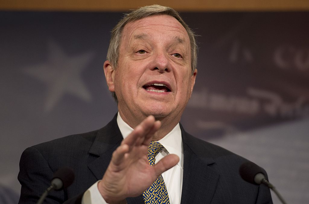 US Senate Assistant Minority Leader Dick Durbin, D-Illinois, speaks during a news conference about lifting the US travel ban to Cuba