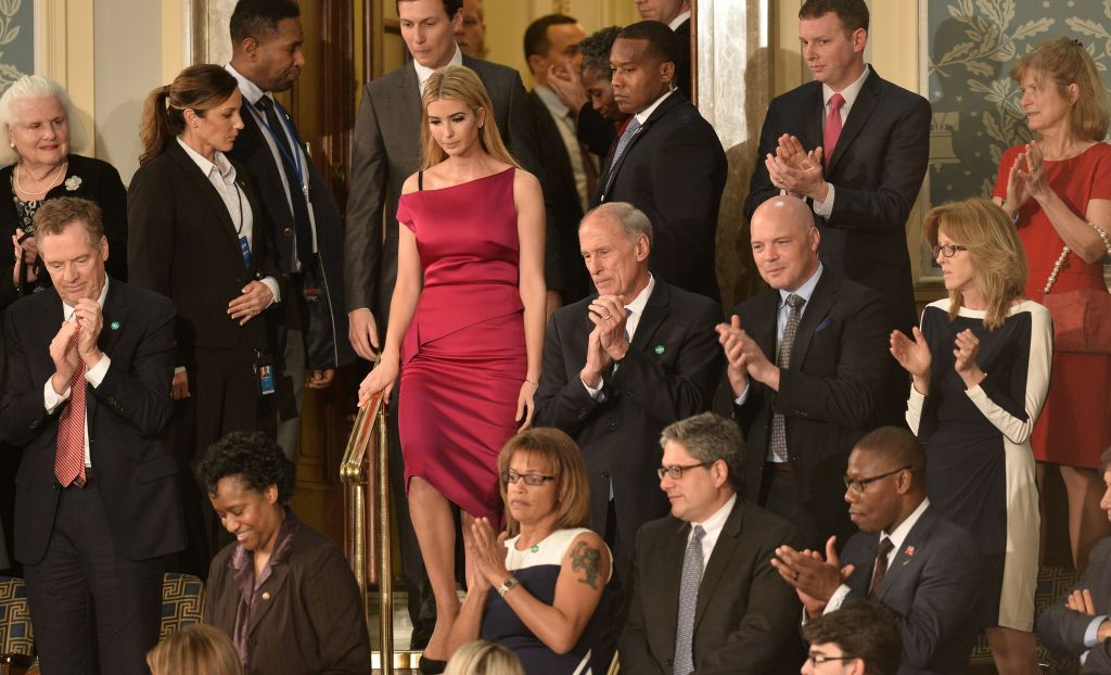 Ivanka Trump and husband Jared Kushner arrive prior to US President Donald Trump's address before joint session of Congress