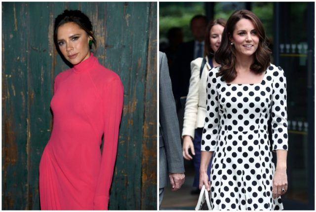 A collage featuring Victoria Beckham and Kate Middleton.