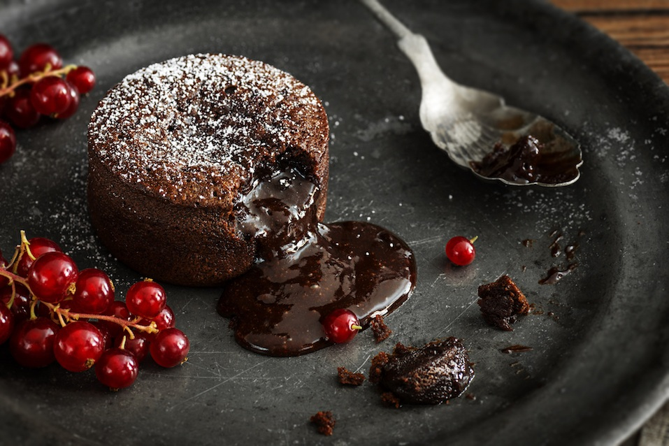 Warm chocolate lava cake sprinkled with powdered sugar