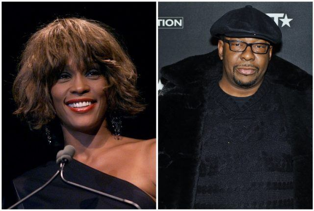 A collage featuring Whitney Houston and Bobby Brown.