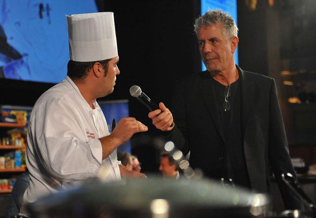 Anthony Bourdain interviewing a chef.