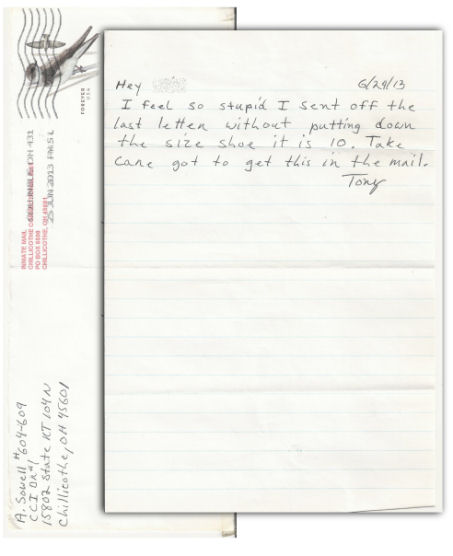 Anthony Sowell Letter